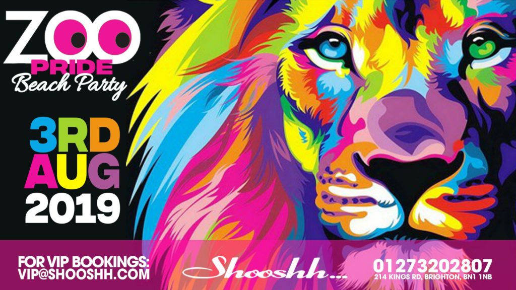 Rainbow Lion. Pride Zoo Party Poster. Saturday 3rd August 2019